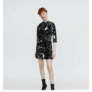 New Zara Black Silver Velvet Sequin Dress